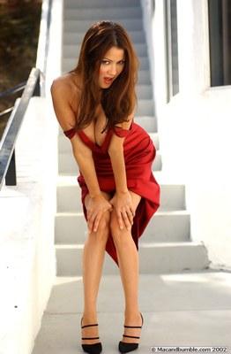 Alley Baggett in Hot Red Dress - 14