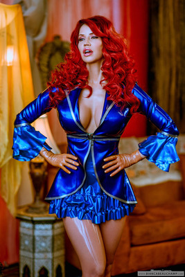 Short Blue Latex Dress - 03