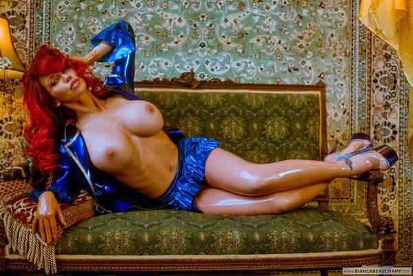 Short Blue Latex Dress - 11