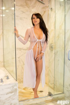 Curvy Hot Brunette Thing Getting Wet in White See through  - 01