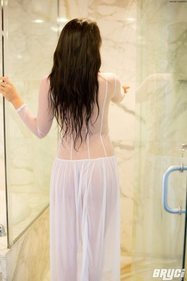 Curvy Hot Brunette Thing Getting Wet in White See through  - 04