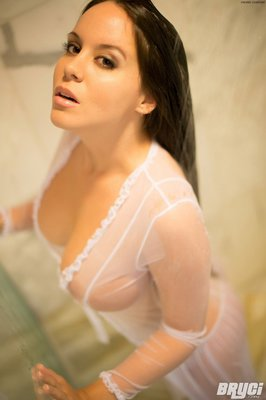 Curvy Hot Brunette Thing Getting Wet in White See through  - 08