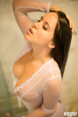Curvy Hot Brunette Thing Getting Wet in White See through  - 09