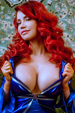 Bianca Beauchamp in 'Short Blue Latex Dress' via