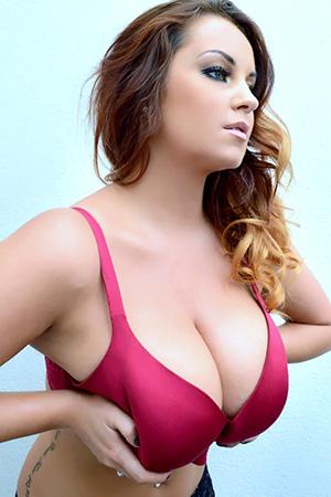 Sarah Randall in 'Red Bra' via Pinup Files