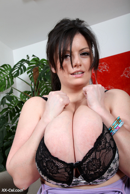 Hot Romanian Babe Peeling Off a Blue Shirt from her Huge Boobs - 14